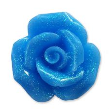 20mm TURQUOISE BLUE Glitter Rose Resin Flatback Cabochon